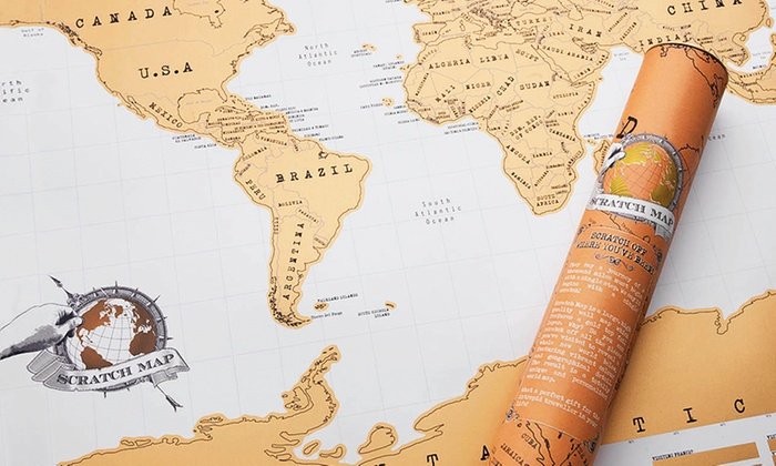 World Edition Scratch Map Poster Groupon Goods