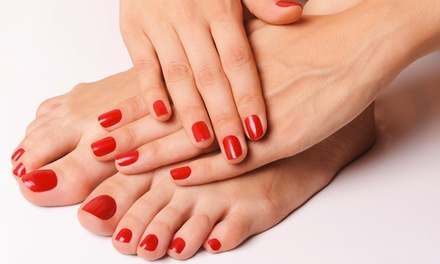 One or Two Shellac Manicures with Basic Pedicures at True Nails and Eye Brow Threading Spa (Up to 54% Off)