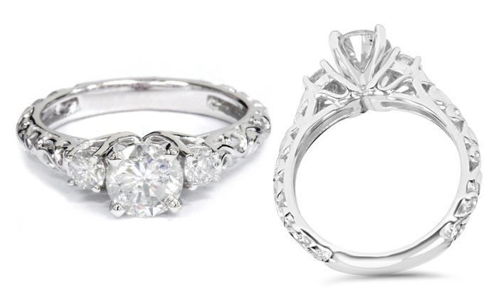 3 Stone Diamond Filigree Ring Groupon Goods