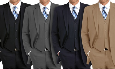 Carlo Lusso Men's Classic Fit 3-Piece Suits
