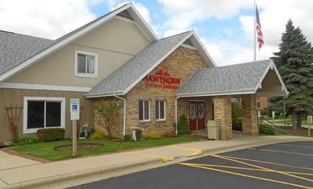 groupon daily deal - Stay with Daily Breakfast at Hawthorn Suites by Wyndham in Green Bay, WI. Dates Available into July.