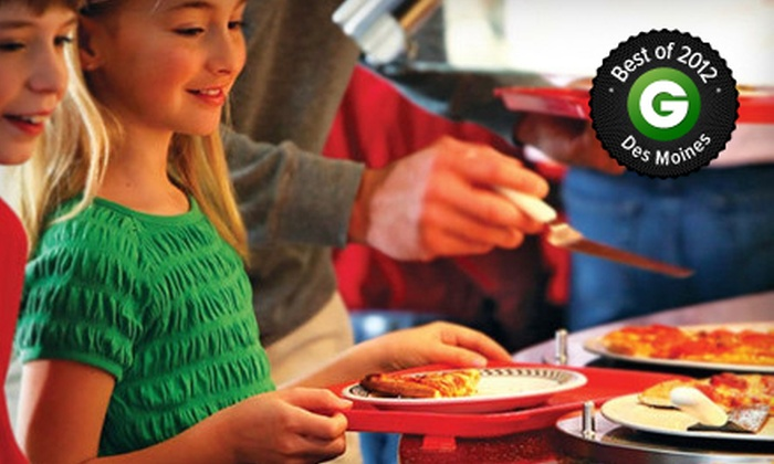 Incredible Pizza Company 86th St. - Urbandale: Pizza Buffet and Games Package for Two or Four Monday–Friday at Incredible Pizza Company 86th St. (52% Off)