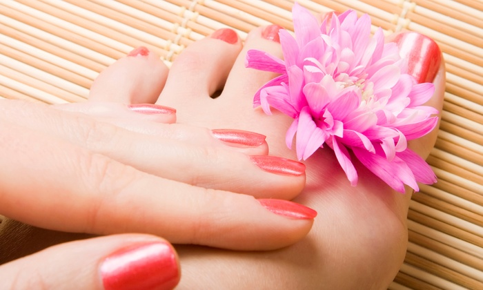 Tiffany Nail Spa - Holbrook: One Gel Mani with Pedicure and Optional Brow Wax or Two Gel Manis with Pedicures at Tiffany Nail Spa (Up to 44% Off)