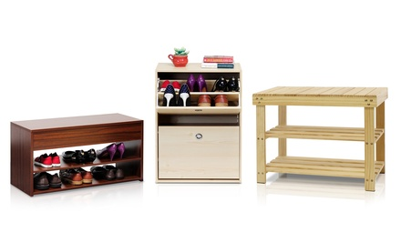 Shoe Storage Furniture; Cabinet, Rack, or Hallway Bench from $14.99–$69.99