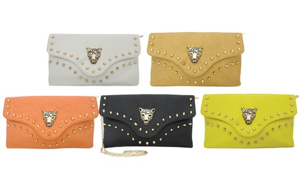 Yoki Leopard-Face Clutch with Removable Strap. Five Colors Available.