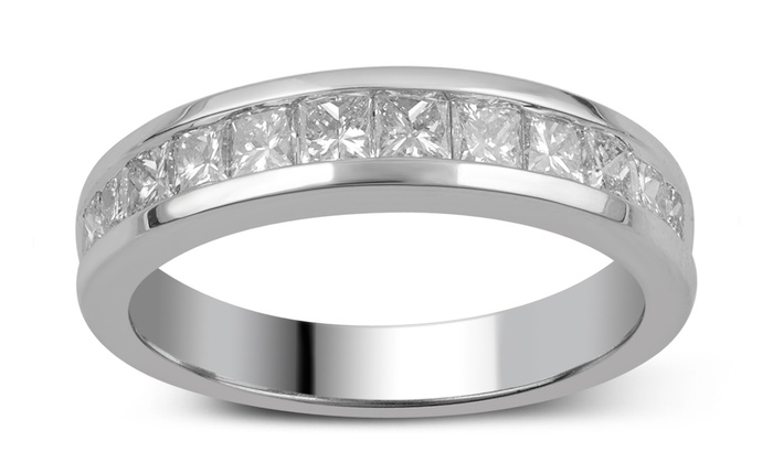 1.00 CTTW Princess-Cut Diamond Ring in 10K Solid White Gold by Brilliant Diamond: 1.00 CTTW Princess-Cut Diamond Ring in 10K Solid White Gold by Brilliant Diamond