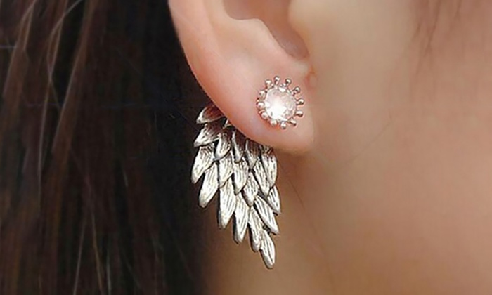 Groupon Goods Global GmbH: Three or Six Pairs of Angel Wing Stud Earrings