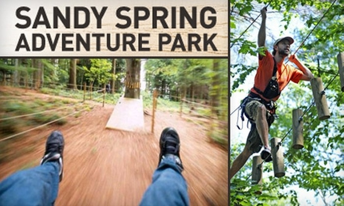 The Adventure Park at Sandy Spring - Multiple Locations: $25 for One Adult Ticket to Sandy Spring Adventure Park