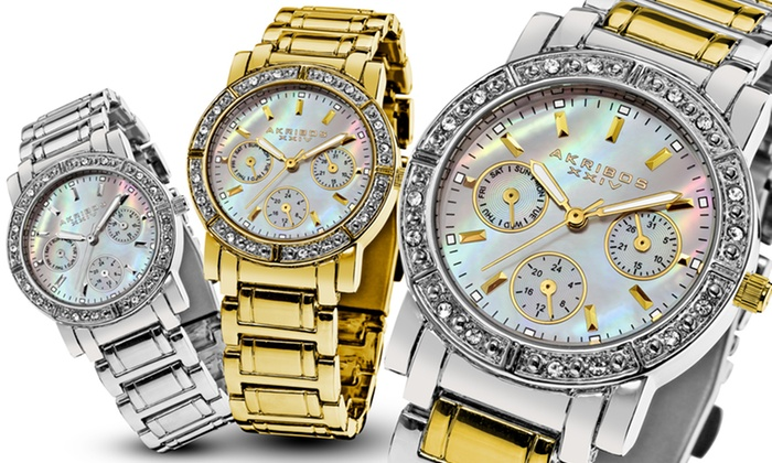 Akribos XXIV Women's Crystal Multifunction Watch: Akribos XXIV Women's Crystal Multifunction Bracelet Watch. Multiple Colors Available. Free Returns.