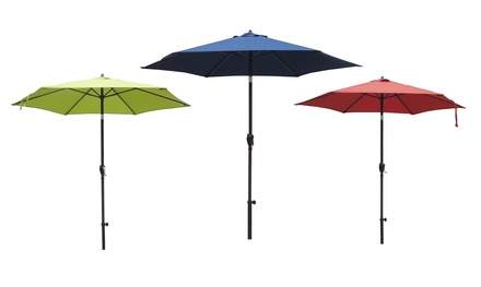Steel Market-Style Patio Umbrella or Umbrella Base for $54.99 or $59.99