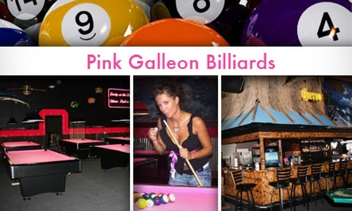 Pink Galleon Billiards and Games - Multiple Locations: $10 for Two Hours of Pool and $20 Worth of Snacks and Drinks at Pink Galleon Billiards and Games