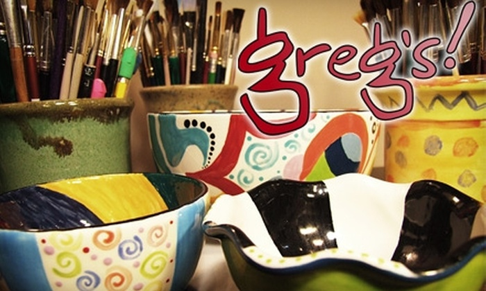 Greg's! Art, Pottery & Gifts - Raleigh / Durham: $15 for $30 Worth of Paint-Your-Own Pottery at Greg's! Art, Pottery & Gifts