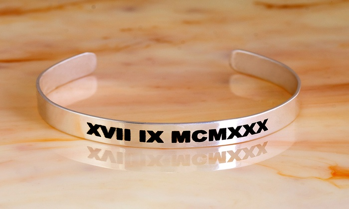 MonogramHub: $18.99 for an Engraved Roman Numeral Date Bangle Plated in Sterling Silver from MonogramHub ($83.99 Value)