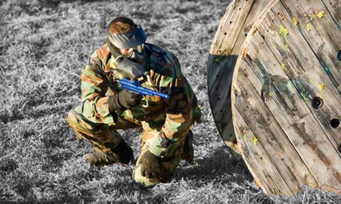 Bigshot Paintball Fields - Princeton: Day of Paintball for 1, 2, or 10 with Gun, Mask, and 200 Rounds at Bigshot Paintball Fields (Up to 61% Off)