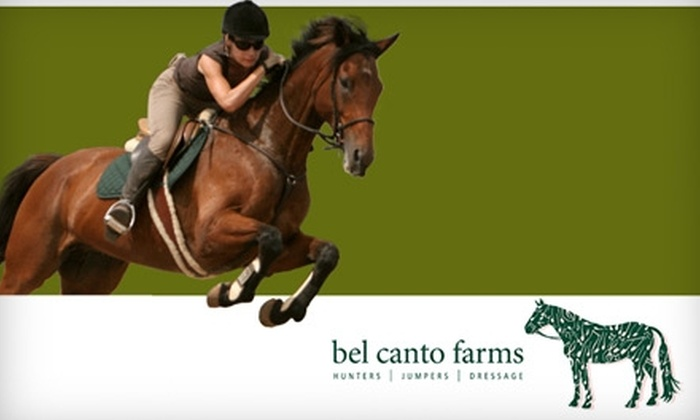 Bel Canto Farms - Dripping Springs-Wimberley: $48 for Two Private Horseback Riding Lessons from Bel Canto Farms in Dripping Springs ($130 Value)