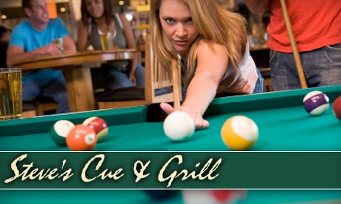 Steve's Cue and Grill - Huntsville: $5 for $10 Worth of Burgers, Sandwiches, Salads, and More Plus One Hour of Pool (Monday & Saturday) at Steve's Cue and Grill