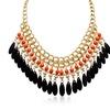 Mandarin Orange and Black Onyx Crystal Bib Necklace