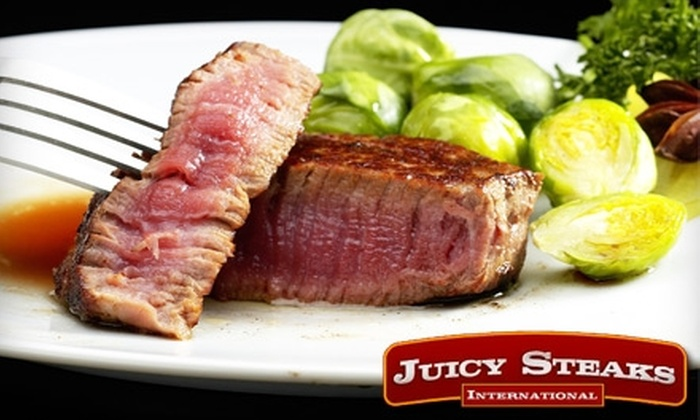 Juicy Steaks International - Downtown: $39 for Six 8-Ounce Rib Eyes, Eight 5-Ounce Filets, or Eight 5-Ounce Top Sirloin Filets from Juicy Steaks ($89 Value)