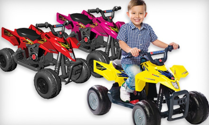 Children's Suzuki QuadRacer: $119 for a Red, Pink, or Yellow Suzuki QuadRacer R450 with Battery and Charger from National Products Ltd. ($179.99 Value). Shipping Included.