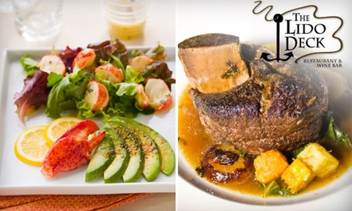 The Lido Deck Restaurant & Wine Bar - Newport Beach: $25 for $50 Worth of Contemporary American Cuisine and Drinks at The Lido Deck Restaurant & Wine Bar