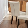 Set of 2 Bonded-Leather Ivory Flared-Back Dining Chairs