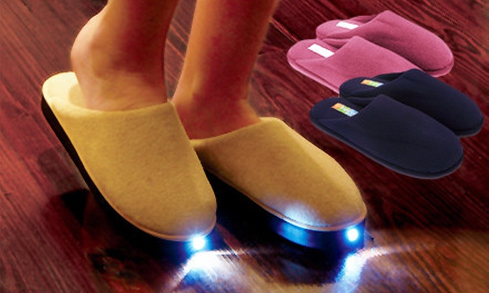 Lighted Fleece Slippers: Brightfeet LED-Lighted Slippers for Adults or Kids from TV Goods Inc. (Up to 52% Off). Multiple Colors Available. Ships in Up to 12 days. May not arrive by 12/24.