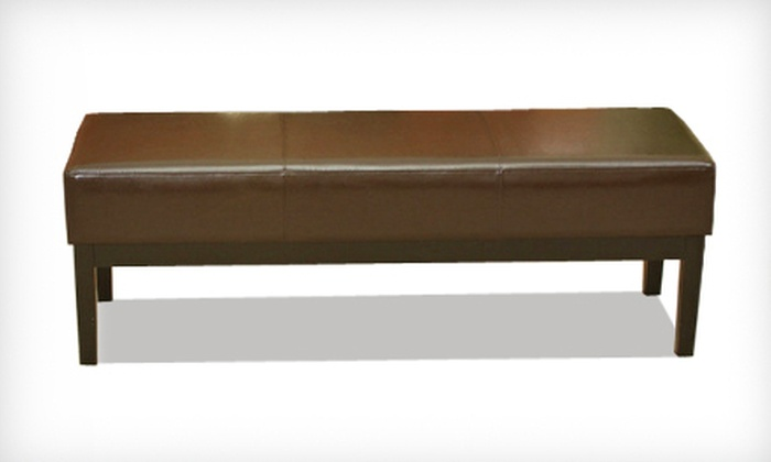 Lilian Brown Leather Bench Ottoman: $119 for a Lilian Chocolate-Brown Leather Bench Ottoman ($279.99 List Price). Free Shipping.
