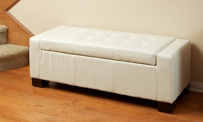 Tufted Leather Storage Bench Ottoman Groupon