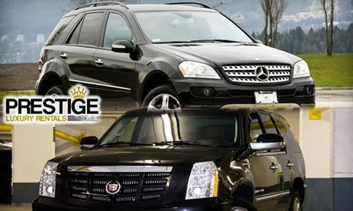 Prestige Luxury Auto Rentals - Fairview: $98 for One-Day Mercedes ML350 or Cadillac Escalade Rental from Prestige Luxury Auto Rentals and Four VIP Tickets to Caprice ($355 Value)