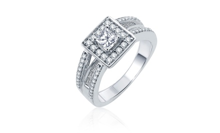 1CTTW Round- and Princess-Cut Diamond Ring in 14-Karat White Gold