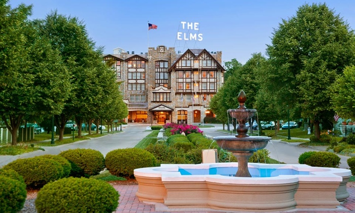 The Elms Hotel & Spa - Cedar Rapids / Iowa City: Stay with Optional Hotel Credit and Grotto Entry at The Elms Hotel & Spa in Greater Kansas City, with Dates into January