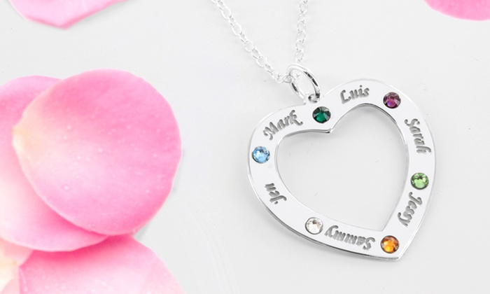 Monogram Online: Family Necklace Personalized with Names and Birthstones from Monogram Online (Up to 68% Off). Two Options Available.