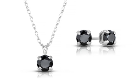 2.00 CTTW Black Diamond Jewelry 2-Piece Set in Sterling Silver