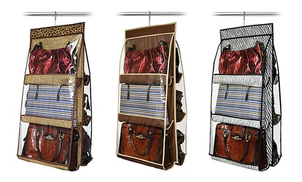 Hanging 6-Purse Closet Organizer in Solid Chocolate Brown or Zebra or Leopard Print. Free Returns.