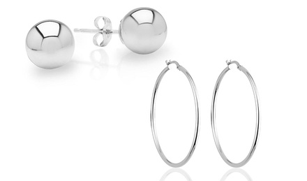 Italian Ball Stud and Hoop Earring Set