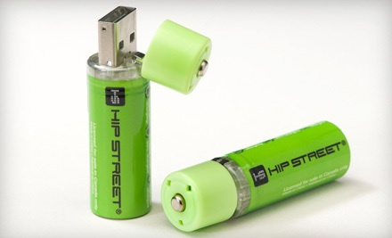 Good for a 2-Pack of Hip Street Online USB-Rechargeable AA Batteries (a $25 value) - USB-Rechargeable AA Batteries  in