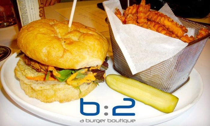 B:2 A Burger Boutique - Lee's Summit: $10 for $20 Worth of Gourmet Burgers and Drinks at B:2 A Burger Boutique in Lee's Summit