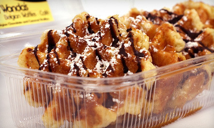 Wanda's Belgian Waffles - Multiple Locations: $12 for Two Dozen Mini Waffles with Chocolate and Caramel Topping at Wanda's Belgian Waffles ($23.99 Value)