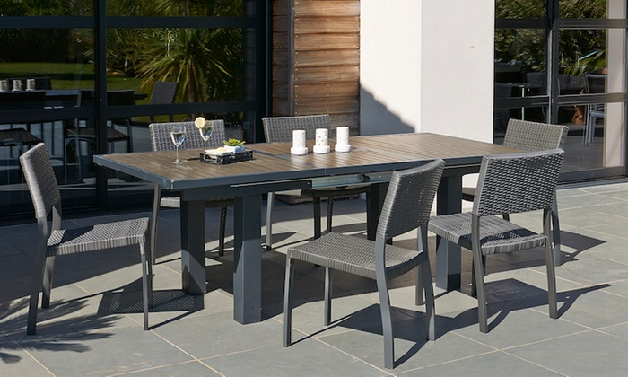 Table extensible de jardin+chaises | Groupon Shopping
