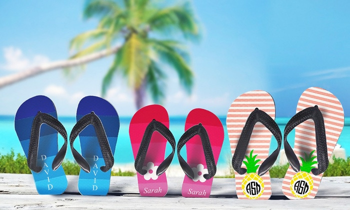 Monogram Online: $16.99 for a Pair of Personalized Flip-Flops for Adults or Kids from Monogram Online ($29.99 Value)