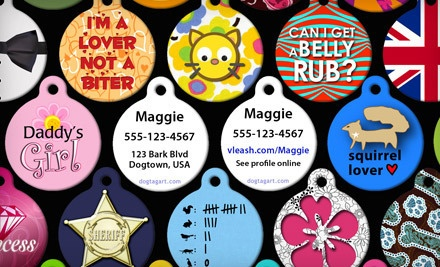 2 Custom-Made Pet-Identification Tags, Including Shipping, (a $33.95 value) - Dog Tag Art in