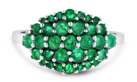 1.30 CTTW Emerald Cluster Ring in Sterling Silver