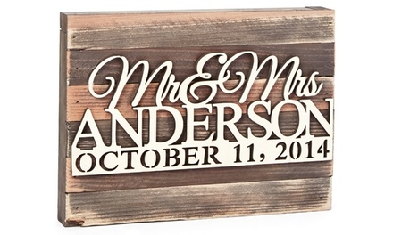 9x12 or 12x18 Personalized Wooden Board from aMonogram Art (50% Off)