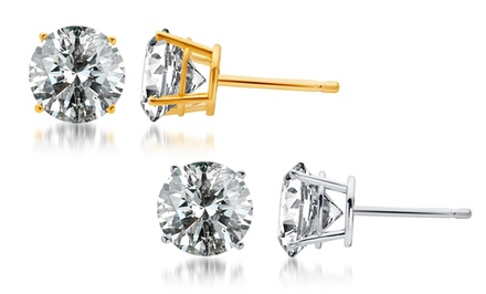 2.00–4.00 CTW Certified Diamond Stud Earrings in 14K White or Yellow Gold from $999.99–$2,499.99