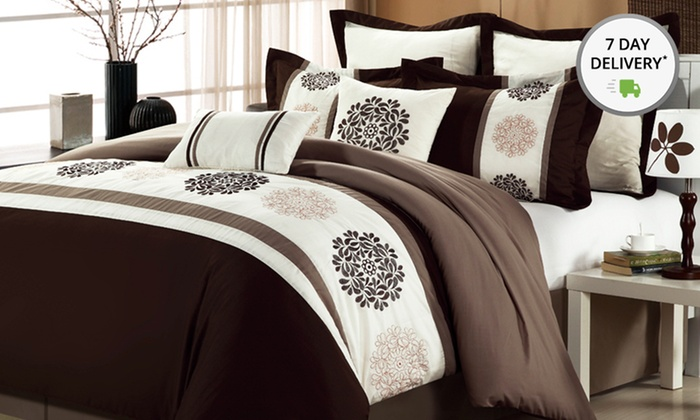 8-Piece Embroidered Oversized and Overfilled Comforter Set: 8-Piece Embroidered Oversized and Overfilled Comforter Set. Multiple Options Available. Free Returns.