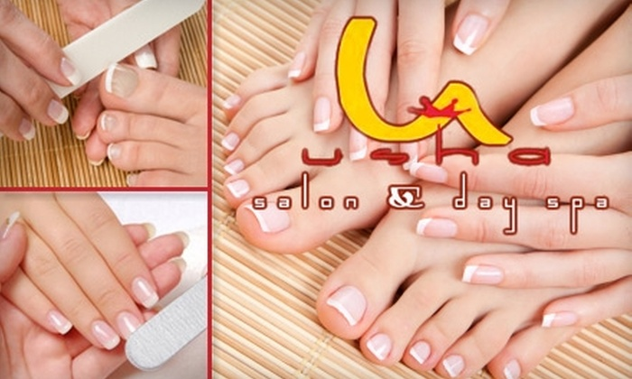 Usha Salon and Spa - Multiple Locations: $45 for Two Classic Mani-Pedi Sessions at Usha Salon and Spa