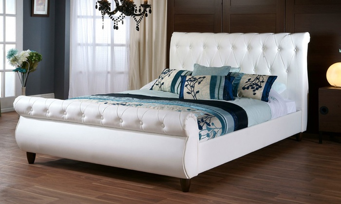 Tufted Upholstered Sleigh Beds Groupon Goods