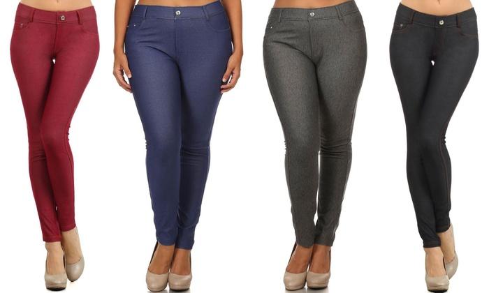Regular and Plus-Size Classic 5-Pocket Jean Leggings