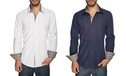Harve Benard Dennis Men's Textured Button-Down Shirts