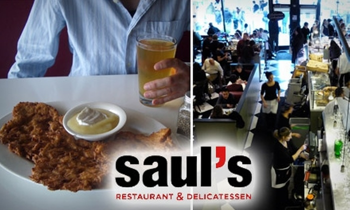 Saul's Restaurant & Delicatessen - North Berkeley: $14 for Two Special Sandwiches and Two Beers at Saul's Restaurant & Delicatessan in Berkeley (Up to $30.50 Value)